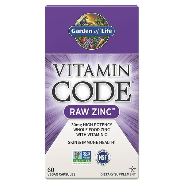 GARDEN OF LIFE - VITAMIN CODE - RAW ZINC - 60 COUNT BOTTLE - Daily Dose Plant-Based Health