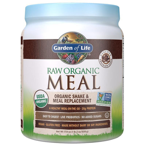 GARDEN OF LIFE - RAW ORGANIC MEAL - 509 GRAMS - 14 SERVINGS - CHOCOLATE CACAO - Daily Dose Plant-Based Health