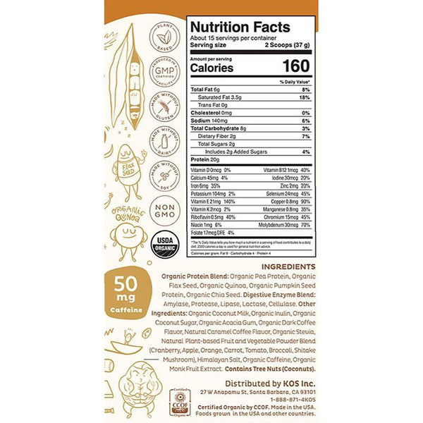 KOS - ORGANIC PLANT PROTEIN - SALTED CARAMEL COFFEE - 19.6 OZ - 15 SERVINGS - Daily Dose Plant-Based Health