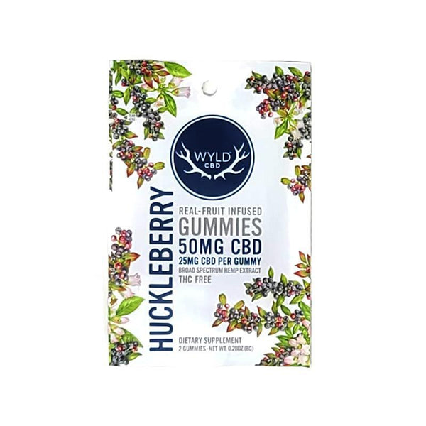 WYLD - REAL FRUIT INFUSED CBD GUMMIES - HUCKLEBERRY - 50 MG - PACK OF 2 - Daily Dose Plant-Based Health