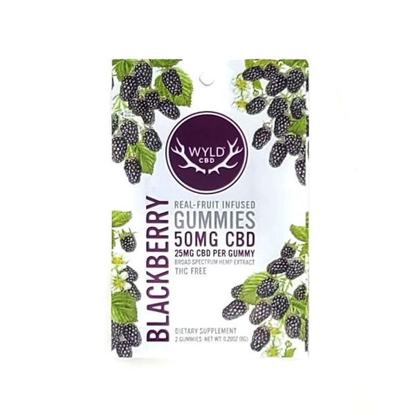 WYLD - REAL FRUIT INFUSED CBD GUMMIES - BLACKBERRY - 50 MG - PACK OF 2 - Daily Dose Plant-Based Health