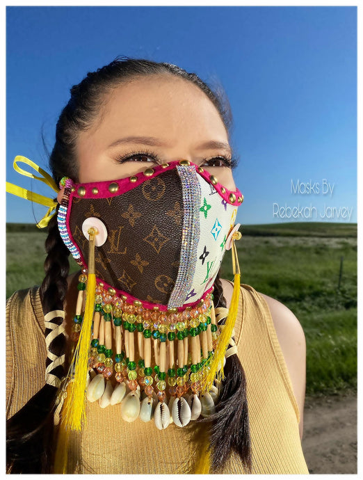 "News Article ""Chippewa Cree fashion designer's face mask art draws fans worldwide"""