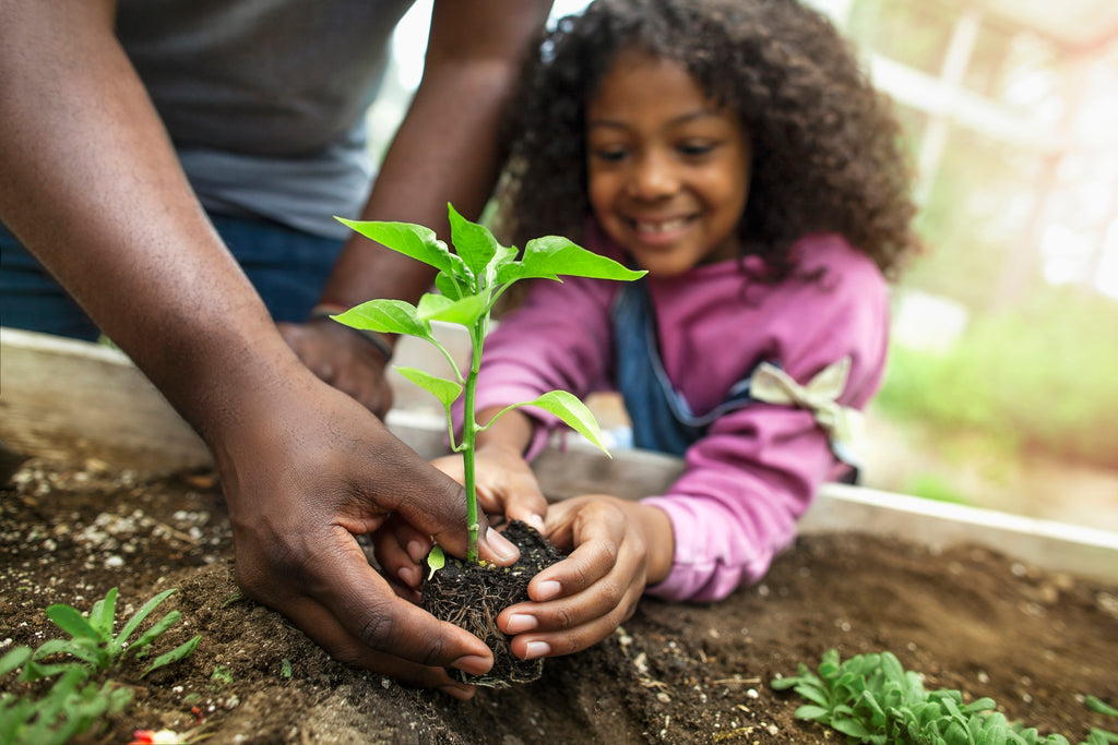 father and daughter holding a green plant in healthy soil