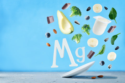 Fruits and vegetables that are high in magnesium with Mg sign floating