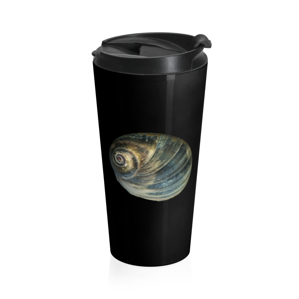 Moon Snail Shell Blue Black Stainless Steel Travel Mug