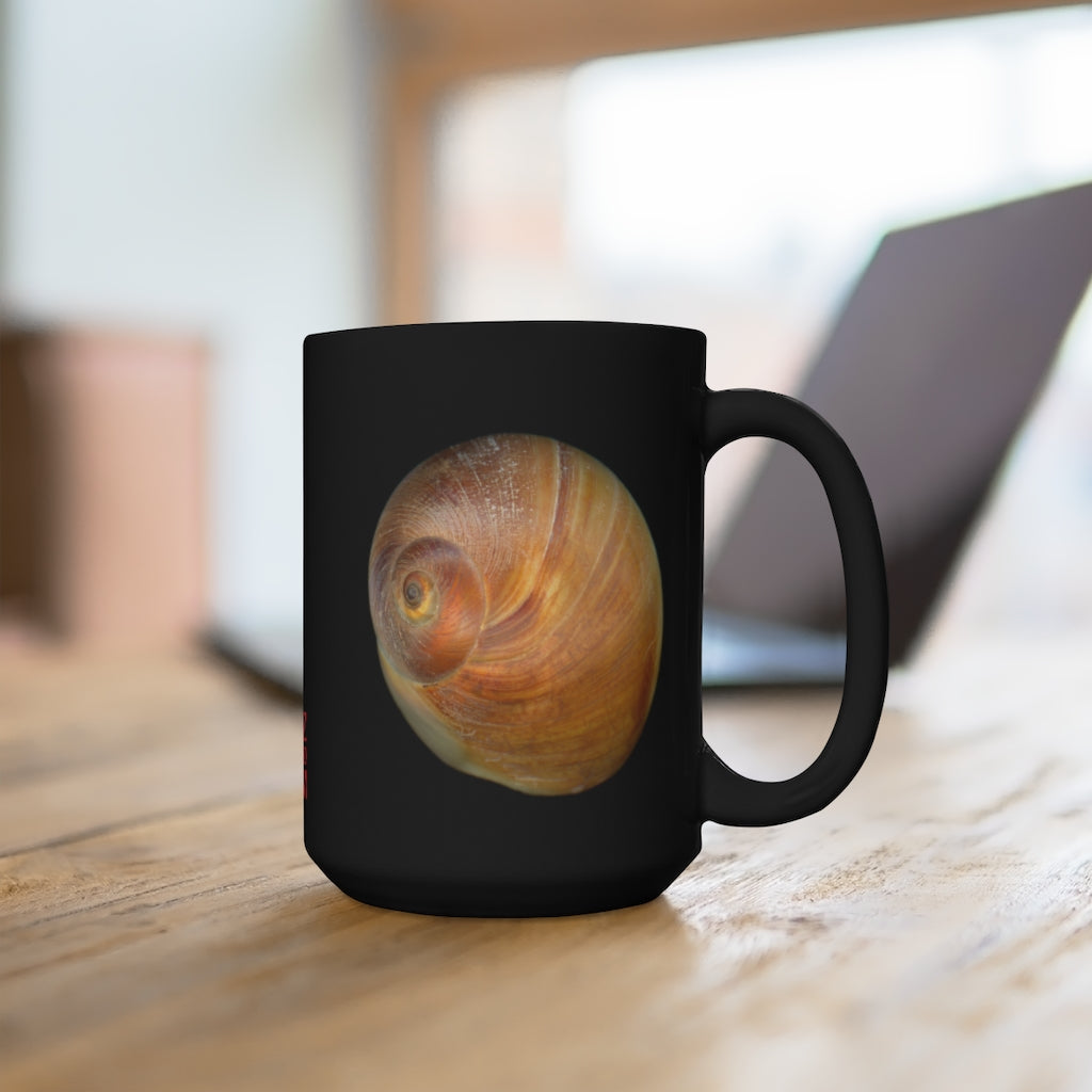 Moon Snail Shell Shark's Eye Black Ceramic Mug 15oz