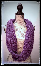 "Load image into Gallery viewer, ""Amethyst Dream"" Hand Knit Twisted Infinity Scarf was created with Loops & Threads Country Loom soft and cozy Super Bulky acrylic yarn in Nobility colorway, worn long."