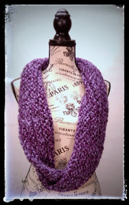 """Amethyst Dream"" Hand Knit Twisted Infinity Scarf was created with Loops & Threads Country Loom soft and cozy Super Bulky acrylic yarn in Nobility colorway, worn long."