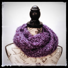 "Load image into Gallery viewer, ""Amethyst Dream"" Hand Knit Twisted Infinity Scarf was created with Loops & Threads Country Loom soft and cozy Super Bulky acrylic yarn in Nobility colorway, worn wrapped."