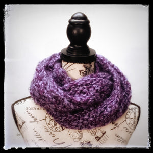 """Amethyst Dream"" Hand Knit Twisted Infinity Scarf was created with Loops & Threads Country Loom soft and cozy Super Bulky acrylic yarn in Nobility colorway, worn wrapped."