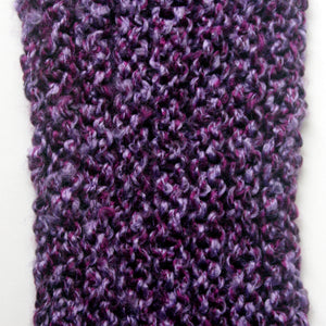 """Amethyst Dream"" Hand Knit Twisted Infinity Scarf was created with Loops & Threads Country Loom soft and cozy Super Bulky acrylic yarn in Nobility colorway, detail."