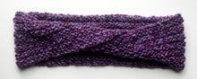 "Load image into Gallery viewer, ""Amethyst Dream"" Hand Knit Twisted Infinity Scarf was created with Loops & Threads Country Loom soft and cozy Super Bulky acrylic yarn in Nobility colorway, flat."