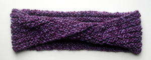 """Amethyst Dream"" Hand Knit Twisted Infinity Scarf was created with Loops & Threads Country Loom soft and cozy Super Bulky acrylic yarn in Nobility colorway, flat."