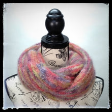 "Load image into Gallery viewer, ""Aurora"" Hand-Knit Twisted Infinity Scarf was created with Jo Sharp Rare Comfort Infusion Kid Mohair blend yarn in Zinger colorway, worn wrapped."