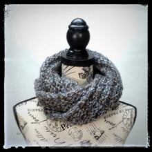 "Load image into Gallery viewer, ""Earth & Sky"" Hand Knit Twisted Infinity Scarf was created with Loops & Threads Country Loom soft and cozy Super Bulky acrylic yarn in Landscape colorway, worn wrapped."