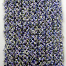 "Load image into Gallery viewer, ""Spring's Promise"" Hand Knit Twisted Infinity Scarf was created with Loops & Threads Country Loom soft and cozy Super Bulky acrylic yarn in Lavender Blues colorway, detail."