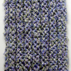 """Spring's Promise"" Hand Knit Twisted Infinity Scarf was created with Loops & Threads Country Loom soft and cozy Super Bulky acrylic yarn in Lavender Blues colorway, detail."