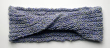 "Load image into Gallery viewer, ""Spring's Promise"" Hand Knit Twisted Infinity Scarf was created with Loops & Threads Country Loom soft and cozy Super Bulky acrylic yarn in Lavender Blues colorway, flat."