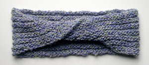 """Spring's Promise"" Hand Knit Twisted Infinity Scarf was created with Loops & Threads Country Loom soft and cozy Super Bulky acrylic yarn in Lavender Blues colorway, flat."