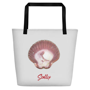 Scallop Shell Magenta Large Tote Bag - Silver