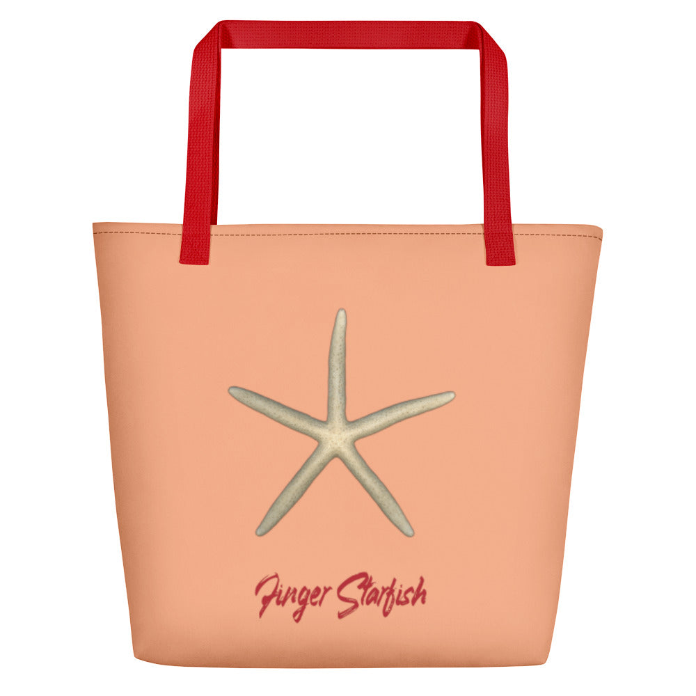 Finger Starfish Large Tote Bag - Peach