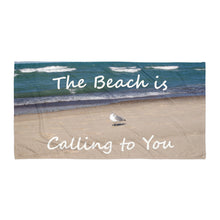 "Load image into Gallery viewer, ""The Beach is Calling to You"" Beach Gym Yoga Towel"