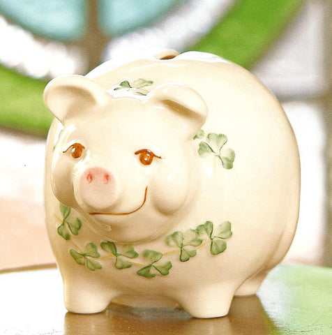 Belleek Pig Money Box