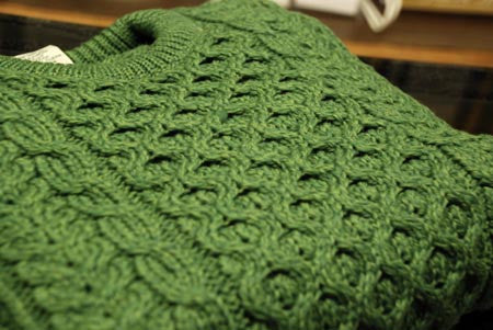 Crewneck Aran Green Sweater