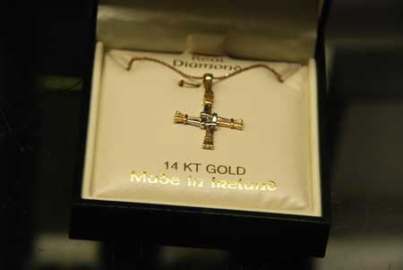 14 k Yellow and White Gold Bridgets Cross with Real Diamond