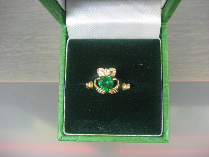 10k or Sterling Silver Claddagh with Crystal Heart