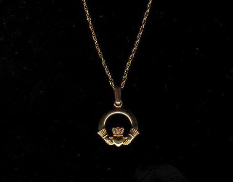 10k Gold Claddagh Pendant with chain.  Made in Ireland