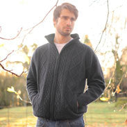 Mens Charcoal Zip Sweater