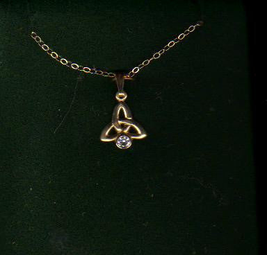 10k Yellow Gold Trinity Knot Pendant with cz. Made in Ireland