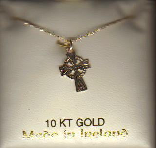 10k Gold Etched Celtic Cross. Made in Ireland