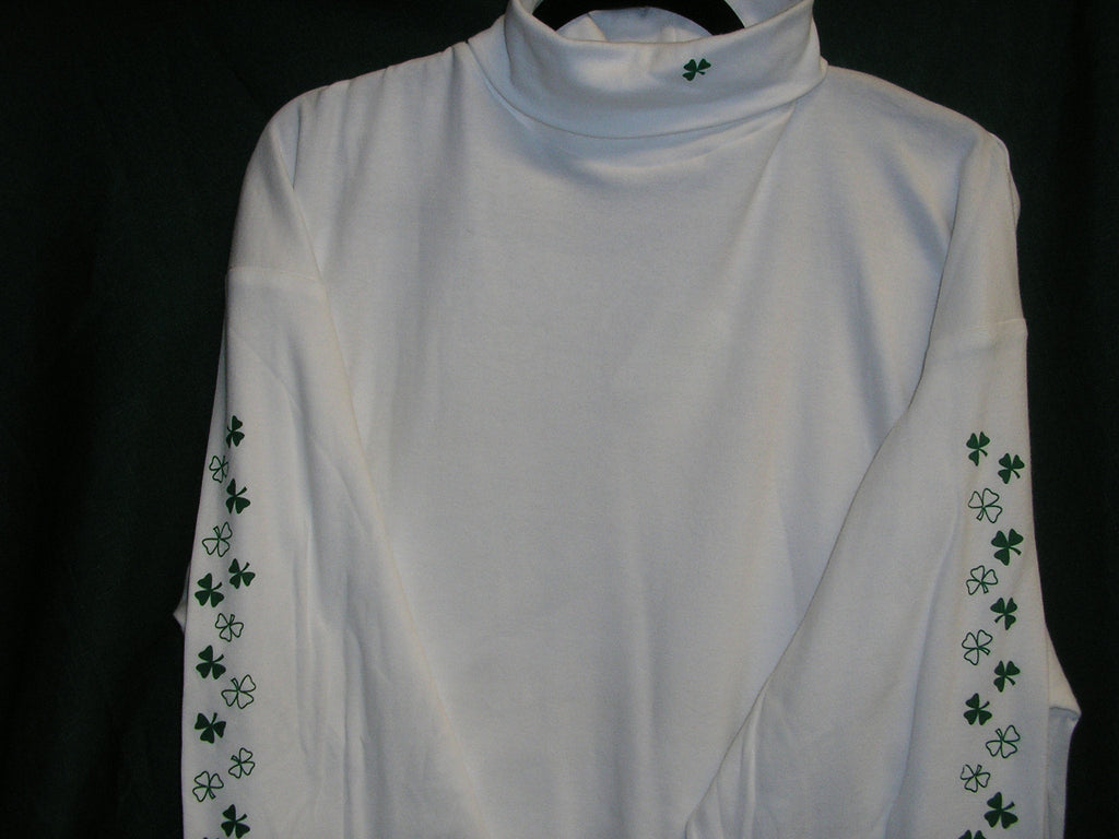 Ladies White Turtleneck with Shamrocks