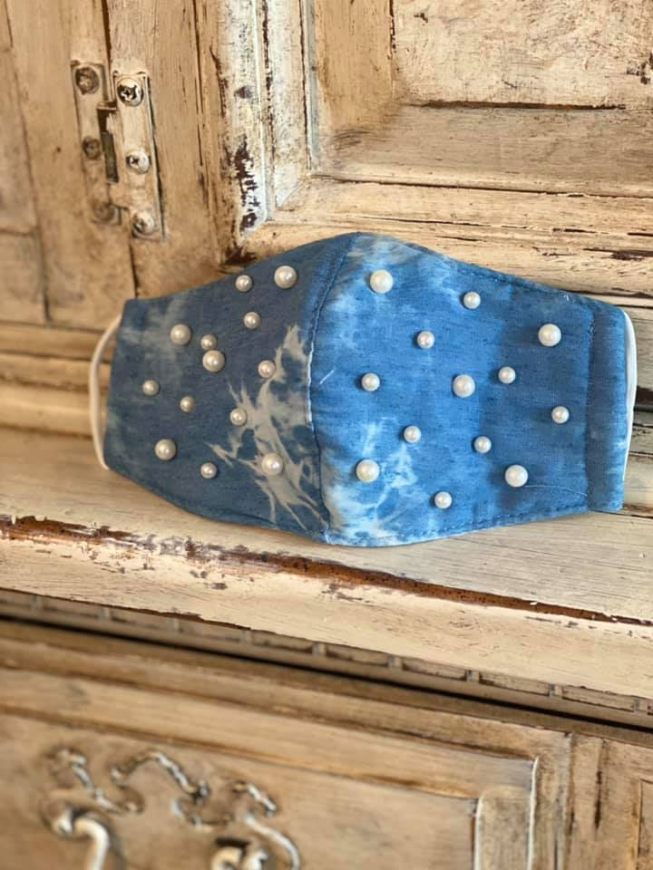 Denim mask with pearls