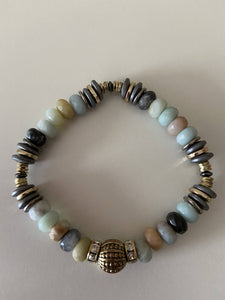 Beaded Stretch Bracelet - Earth Tones and Turquoise - SOLD