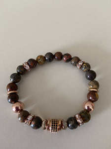 Beaded Stretch Bracelet - Rose Gold with Black Pave Center Stone