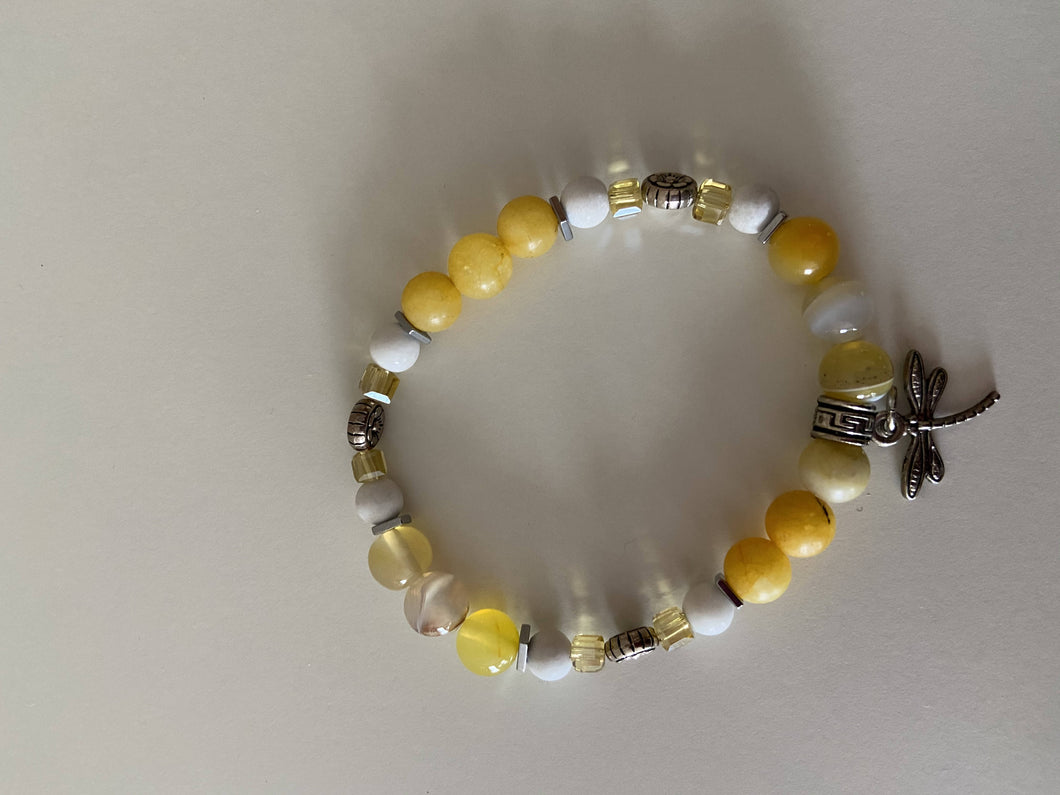Beaded Stretch Bracelet - Yellow with Dragon Fly Charm