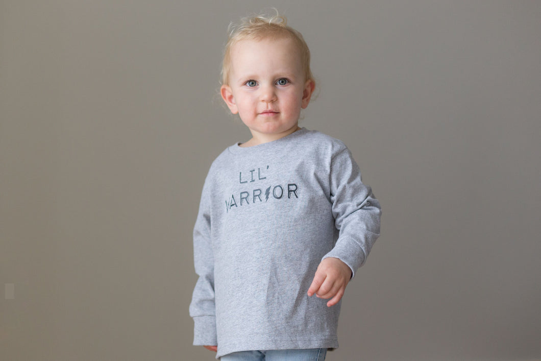 Lil' Warrior - Long Sleeve Toddler T - Light Grey