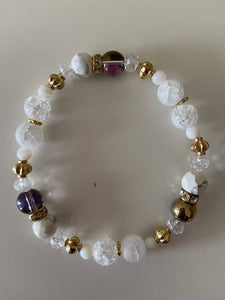 Beaded Stretch Bracelet - White with Yellow Gold