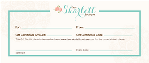 Dear SKarlett Boutique Gift Card