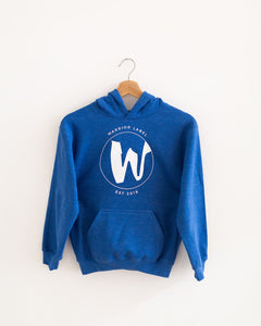 Warrior Label Logo - Youth Hoodie - Heather Royal