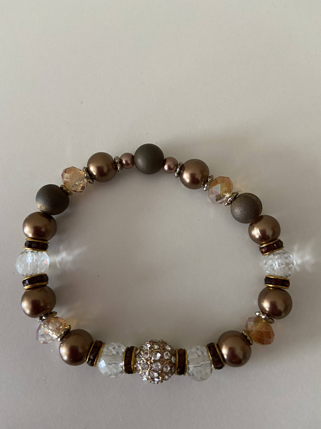 Beaded Stretch Bracelet - Bronze & Gold