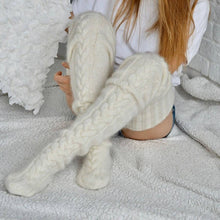 Load image into Gallery viewer, Knit Extra Long Socks (Over / above Knee Thigh high Leg Warmers) thigh stockings, thigh leg warmer, winter legging, Easter