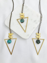 Load image into Gallery viewer, African Turquoise Triangle Necklace