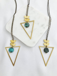 African Turquoise Triangle Necklace