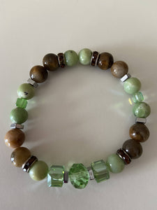 Beaded Stretch Bracelet - Tigers Eye with Green Variations