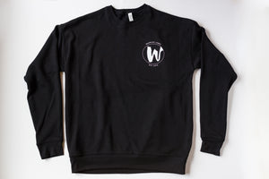 Warrior Label Small Logo- Unisex Crew Neck Sweater - Black