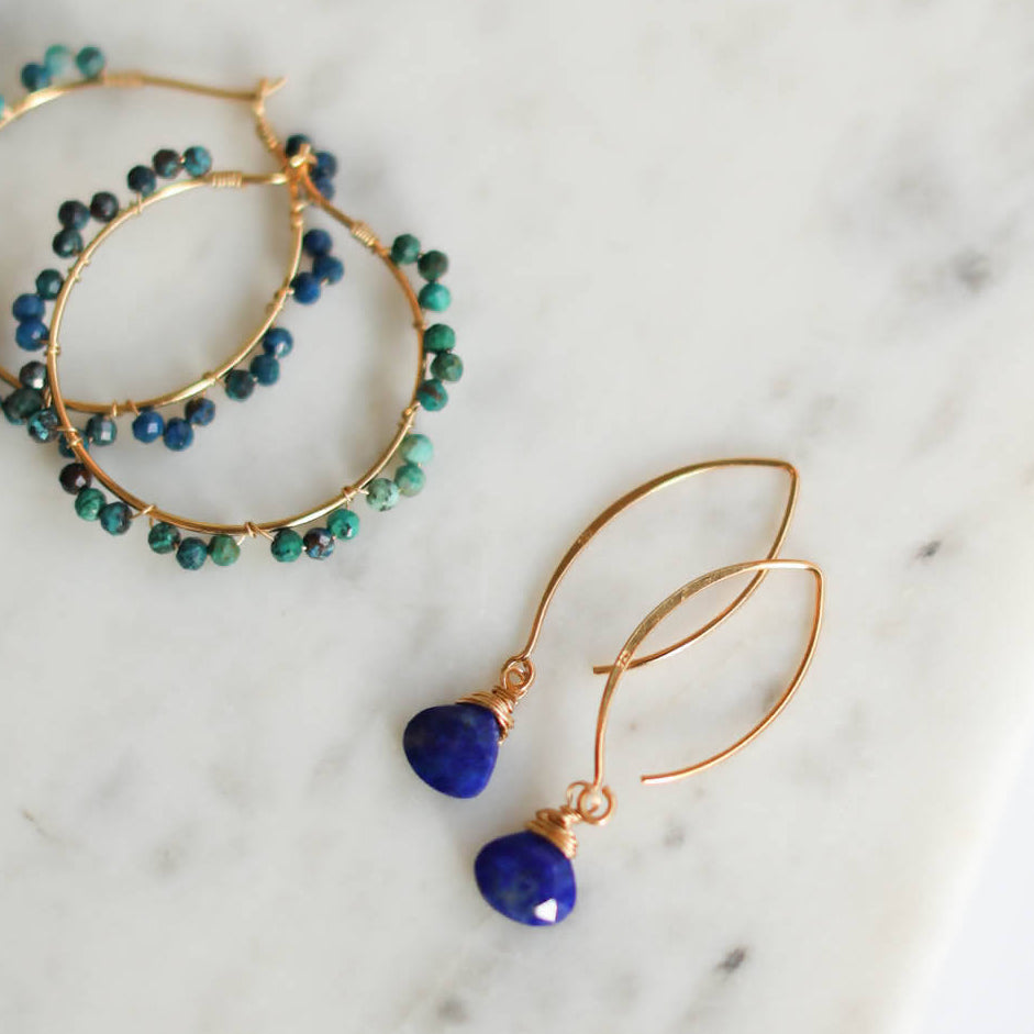 Lapis Gemstone Drop Hook Earring